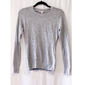 Reiss Long Sleeve Grey Blue Floral Knit Top Small
